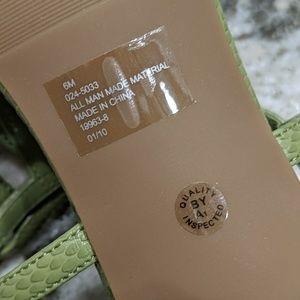 East 5th Shoes - NWT East5th Green Snakeskin Heeled Sandal